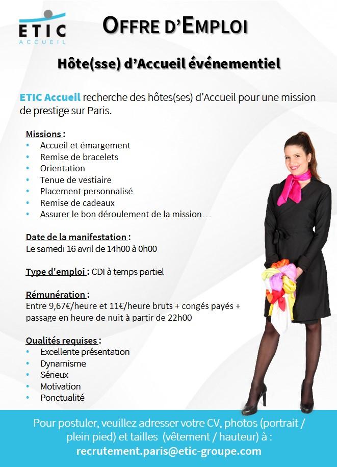 ETIC Accueil Evenementiel - Offre Paris 16-04-16 - Avril 2016