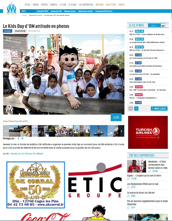 Article OM - Partenariat Kids Day OM - Mai 2016