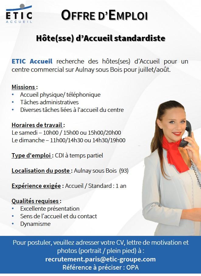 ETIC Accueil - Offre Aulnay sous Bois - Juin 2016